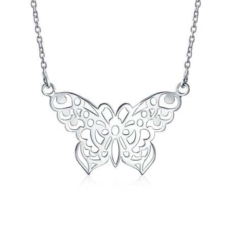 Large Butterfly Necklace Cut Out Filigree Statement Pendant For Women 925 Sterling Silver 16 Inches