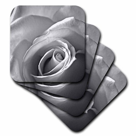 3dRose Rose in Black and White, Soft Coasters, set of (Rose Coaster)