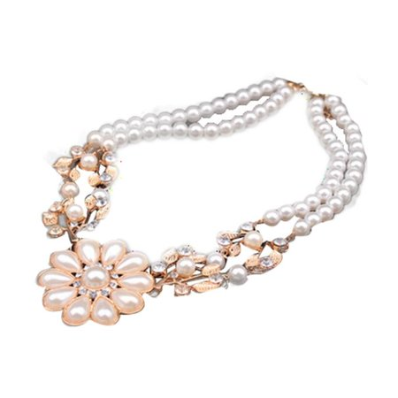 Women Crystal Pearl Flower Bib Choker Chunky Statement Collar Necklace Jewelry