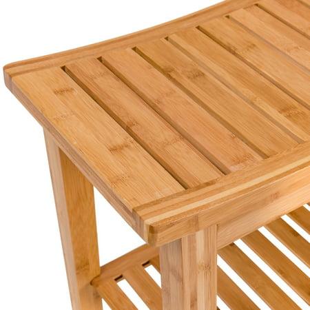 "18"" bamboo shower seat bench bathroom spa organizer stool"