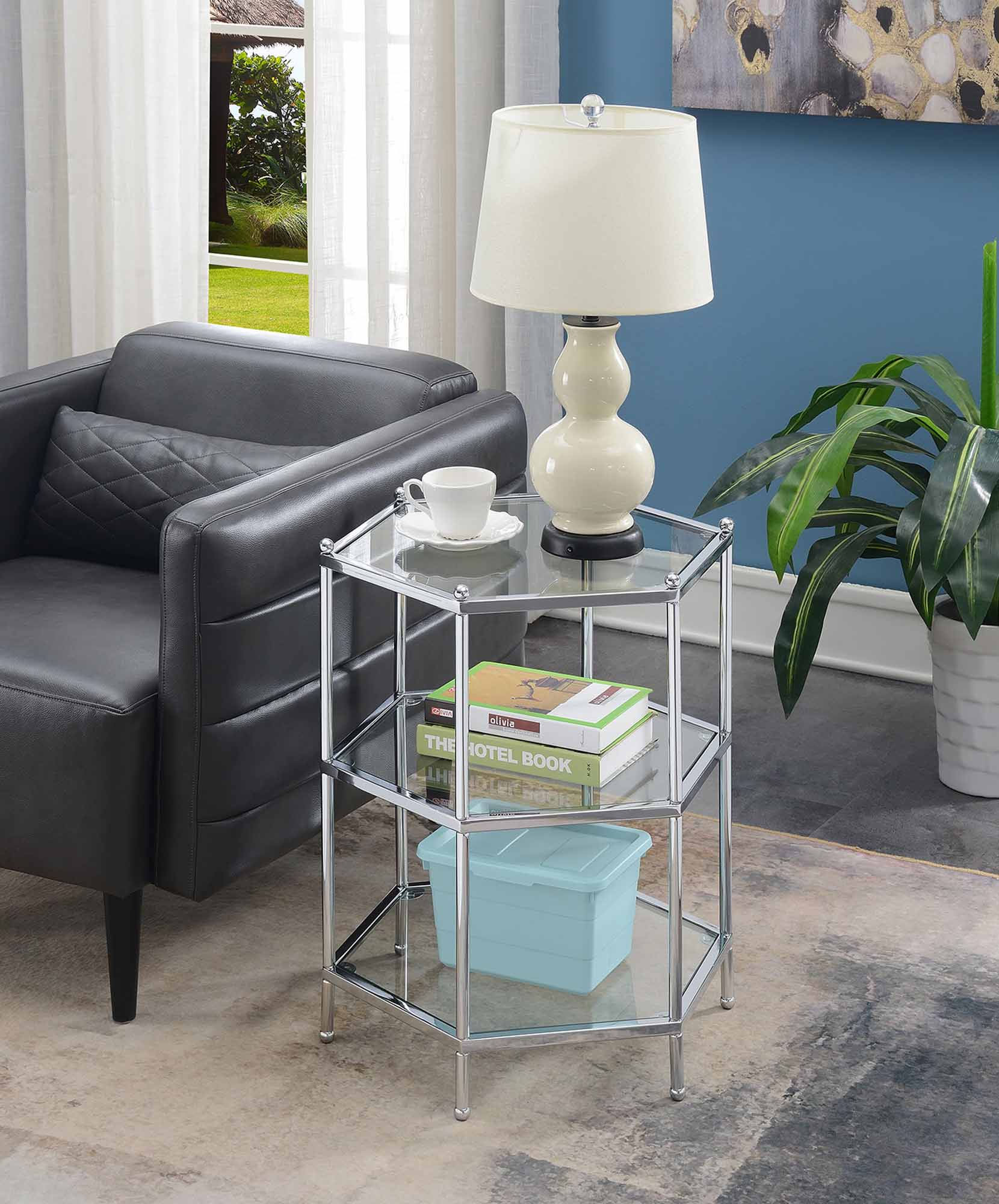 Convenience Concepts Royal Crest Hexagonal 3 Tier Chrome End Table
