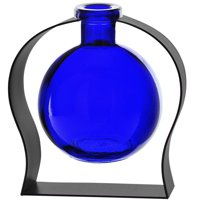 Couronne Co Ball Recycled Glass Vase and Arched Metal Stand, M244-200-00-P, 6 inches tall, 8.5 ounces, Clear