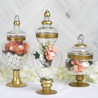 """Efavormart Set of 3 Gold Trimmed Apothecary Glass Candy Jars Candy Buffet Containers With Lids -11""""/16""""/18"""""""