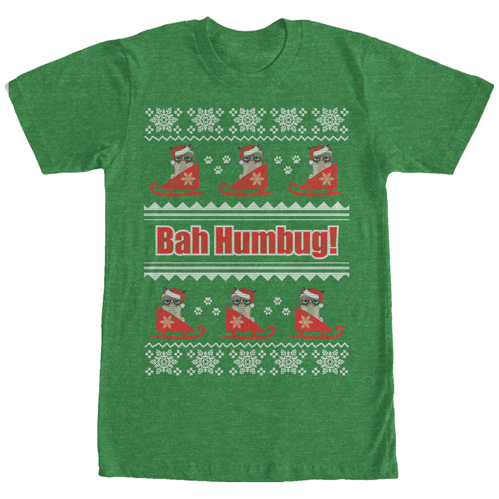 Grumpy Cat Men's Bah Humbug Ugly Christmas Sweater T-Shirt