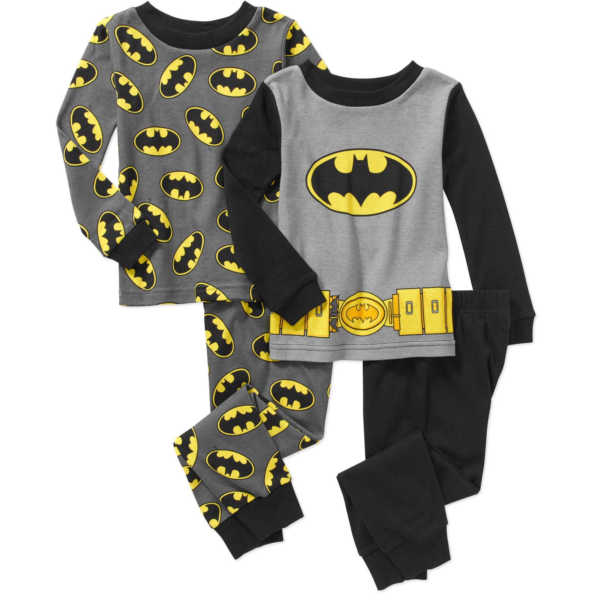 Batman Baby Toddler Boy Long Sleeve Cotton Tight Fit Pajamas, 2-Sets