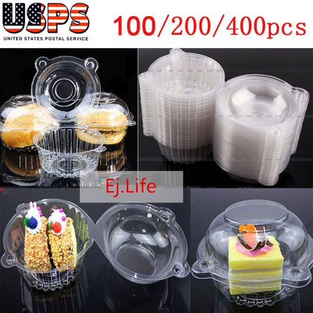Qiilu 100Pcs/200Pcs/400Pcs Plastic Clear Single Individual Compartment Cupcake Holders Boxes Containers Cupcake Muffin Dome Holders Pods