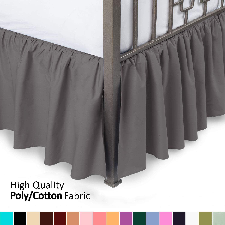 Ruffled Bed Skirt With Split Corners King Black 18 Drop Bedskirt Blissford Walmart Com Walmart Com