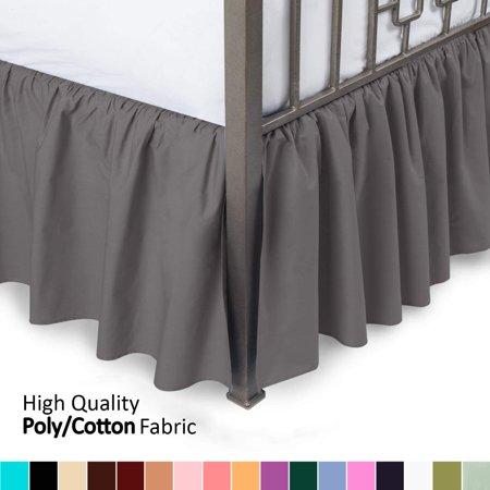 Ruffled Bed Skirt With Split Corners Cal King Aqua 18 Inch Drop Bedskirt Av Walmart Com