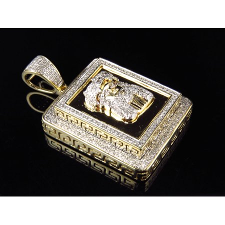 10K Yellow Gold Double Tier Greek Key Jesus Pendant Charm 1.75 Inch (Double Greek Key)
