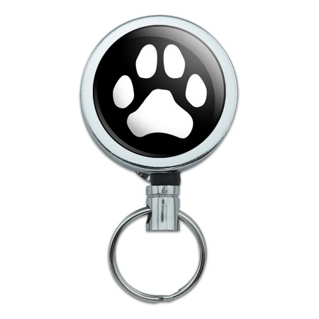 Paw Print Dog Cat White on Black Heavy Duty Metal Retractable Reel ID Badge Key Card Tag Holder with Belt Clip (Black Paw Print)