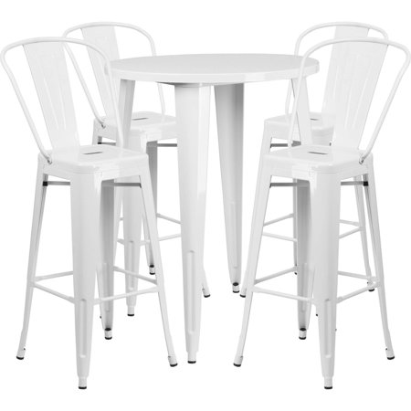 Flash Furniture Round Metal IndoorOutdoor Bar Table Set With - Round metal cafe table