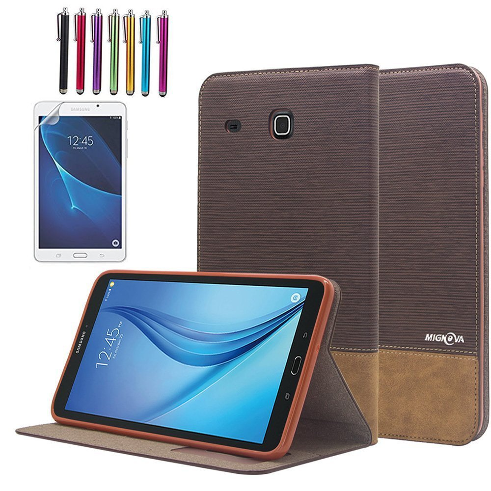Mignova Samsung Galaxy Tab E Lite 7.0 Case - Folio Premium Leather Case for Samsung Galaxy Tab E Lite 7.0 & Tab 3 Lite 7.0 Tablet + Screen Protector Film and Stylus Pen (Dark Brown)