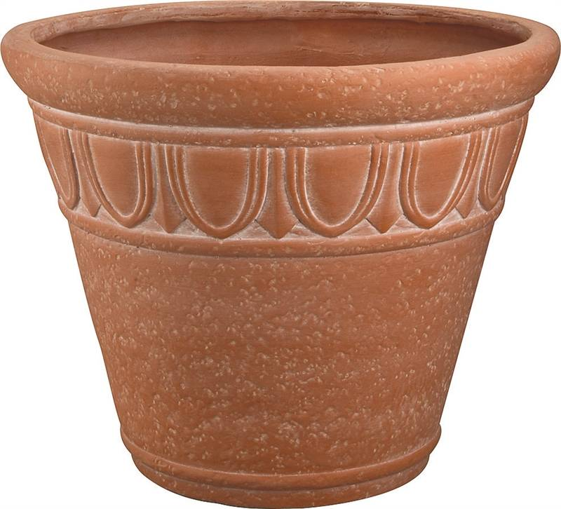 Landscapers Select Handcrafted Pottery Planter, Round Pattern, 16 In/40.6 Cm Dia X 13 In H, Terra Co