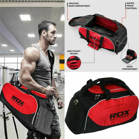 RDX GKB-R1B Sports Duffel Bag Travel Gym Backpack  Mens Equipment Red