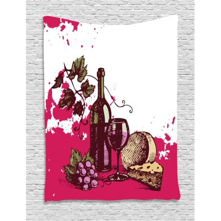 Wine Tapestry, Vintage Sketchy Artwork Cheese Alcoholic Drink Fruit Abstract Design, Wall Hanging for Bedroom Living Room Dorm Decor, Hot Pink Olive Green Cream, by Ambesonne](Hot Alcoholic Drinks For Halloween)