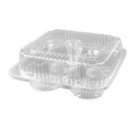 CPC 4MU 4 Muffin Clear Hinge Container Muf, 3.5 x 8 x 8 in. - Case of 300 (Muffin Container)