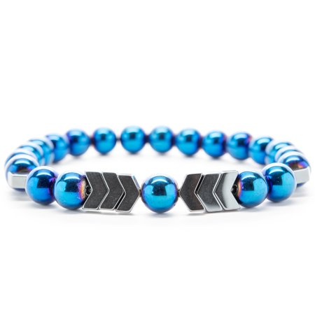 Wrist Beads Semiprecious Stone Bracelet - Real Blue Hematite Gemstones - for Chakra Healing and Balancing, fits Men and Women 7 inch - Adds Boho Charm to Any Outfit, by Orti Jewelry