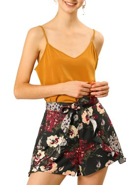 Women's Floral High Tie Elastic Waist Ruffle A-Line Culottes Shorts S Black