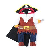 Pet Cat Dog Clothes Costume Dress Pirate Suit Apparel with Hat Size M
