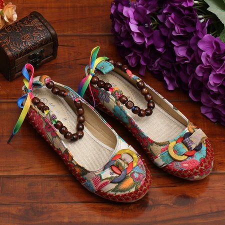 Beaded Lace Manual Beijing Shoes Asakuchi Breathable Shoes Women Single Shoes - image 9 de 10