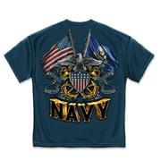 U S  MILITARY MERCHANDISE MM2152M DOUBLE FLAG EAGLE NAVY SHIELD DESIGN NAVY T-SHIRT  MEDIUM