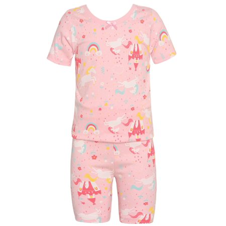 Sol Sleep Little Girls Light Pink Unicorn Rainbow Print 2 Pc Pajama - Boutique Pajamas