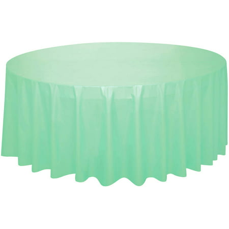 Mint Green Plastic Party Tablecloth, Round, 84in