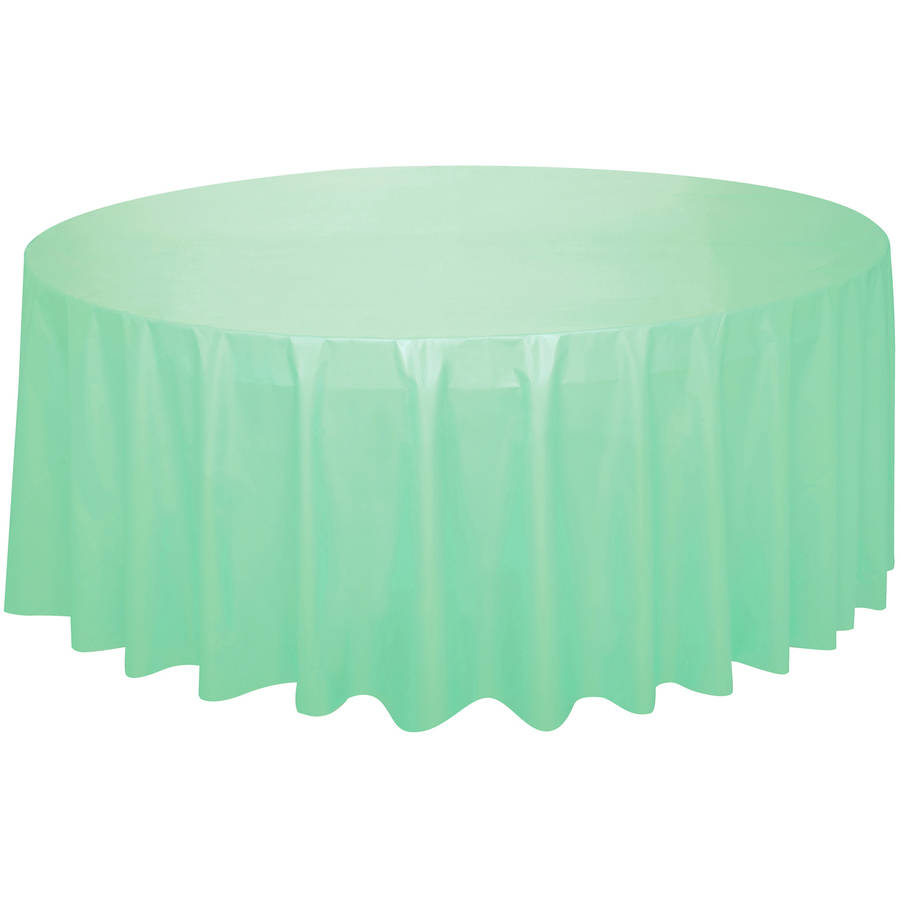 Incroyable Plastic Round Tablecloth, 84 In, Mint Green, 1ct