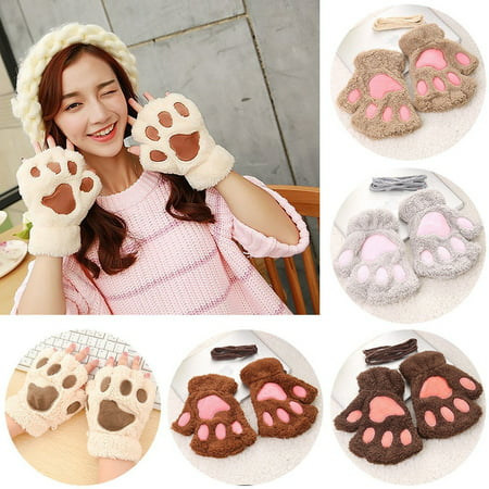 Cute Cat Claw Paw Plush Mittens Short Fingerless Gloves Half Finger Women Lovely - Cat Paw Gloves