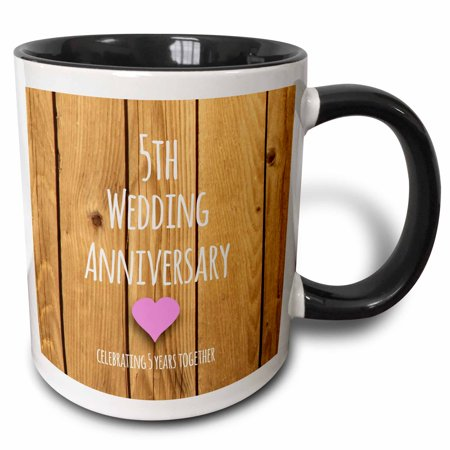 3dRose 5th Wedding Anniversary gift - Wood celebrating 5 years together - fifth anniversaries five yrs, Two Tone Black Mug, (Best 5th Year Wedding Anniversary Gifts)