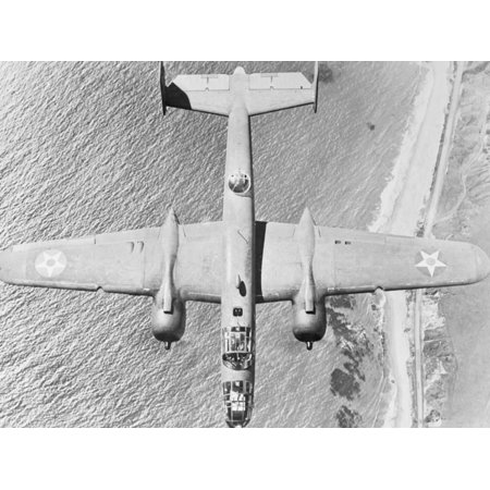 USAAF B-25 Mitchell Bomber over Coast Print Wall (Usaaf Bomber)