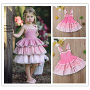 Girls Princess Sleeveless Lace Tutu Dress Baby Kid Wedding Party Birthday Dresses New