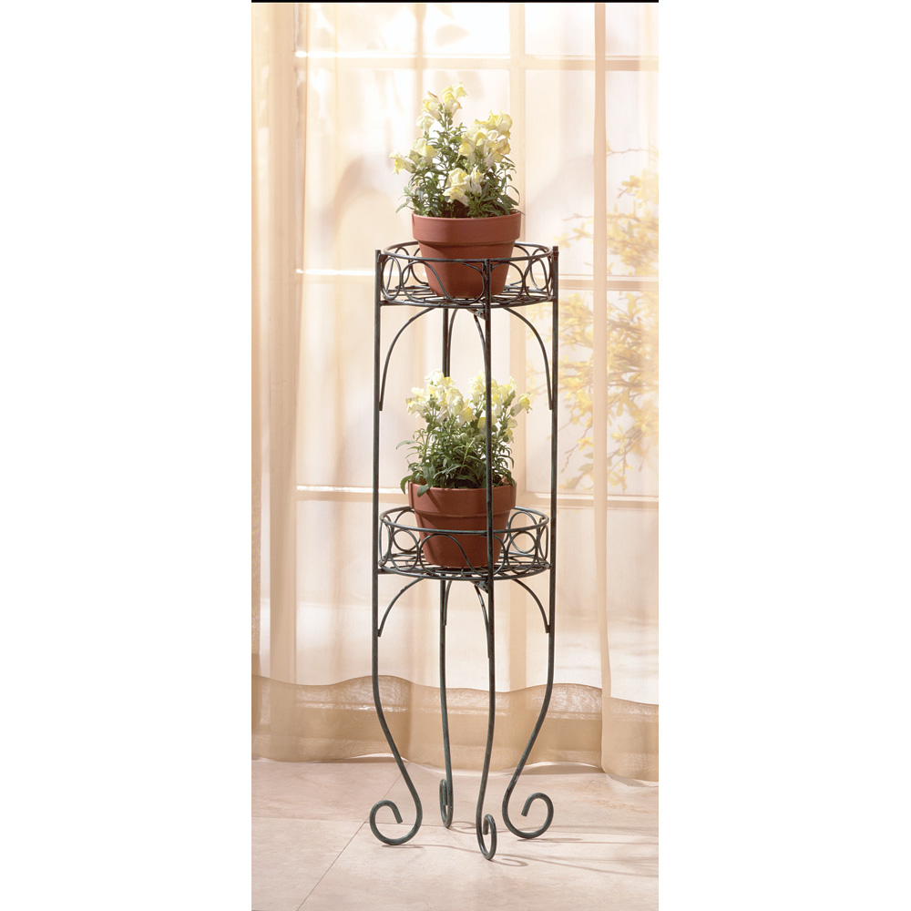 Plant Stands Indoor Tall Metal Two Tier Display Stand Verdigris Style