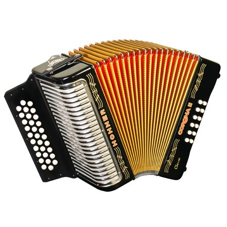 Hohner Button Accordion Corona II Classic GCF, With Gig Bag, Straps And Adjustable Bass Strap, Jet Black