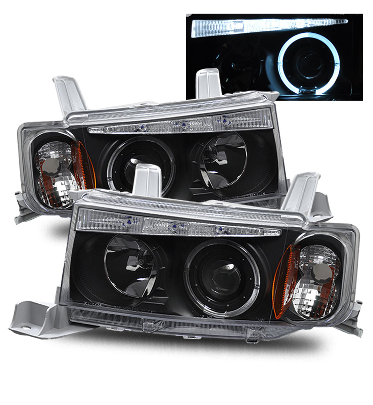 For 04-06 Scion xB LED Angel Eye Halo Projector Headlights Black