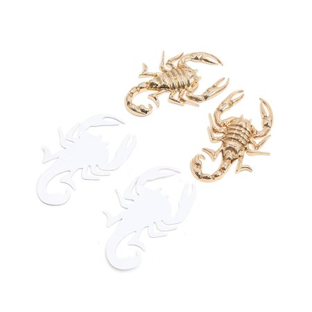 2Pcs Gold Tone Metal Scorpion Shape Car Self Adhesive Decorative Sticker Decor Gold Self Adhesive