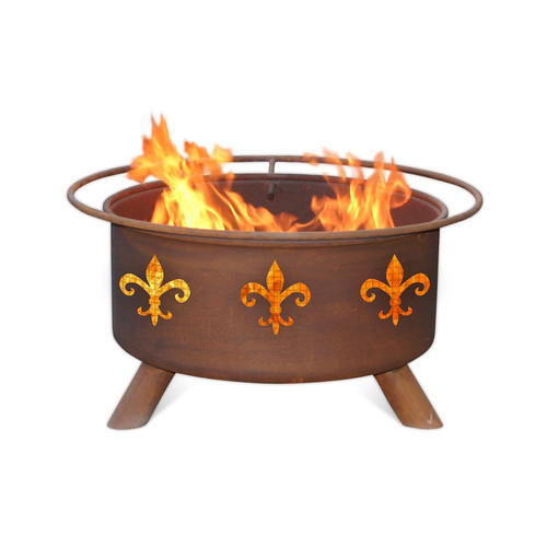 Patina Products Fleur De Lis Steel Wood Burning Fire pit