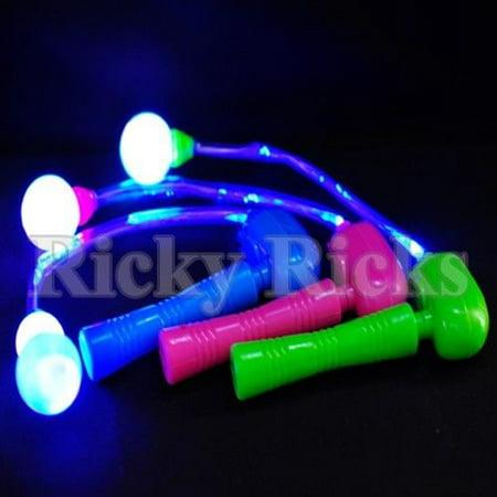 12 Light-Up Spinning Ratchets LED Ball Matracas Flashing Spinners Wands Sticks - Flashing Wand