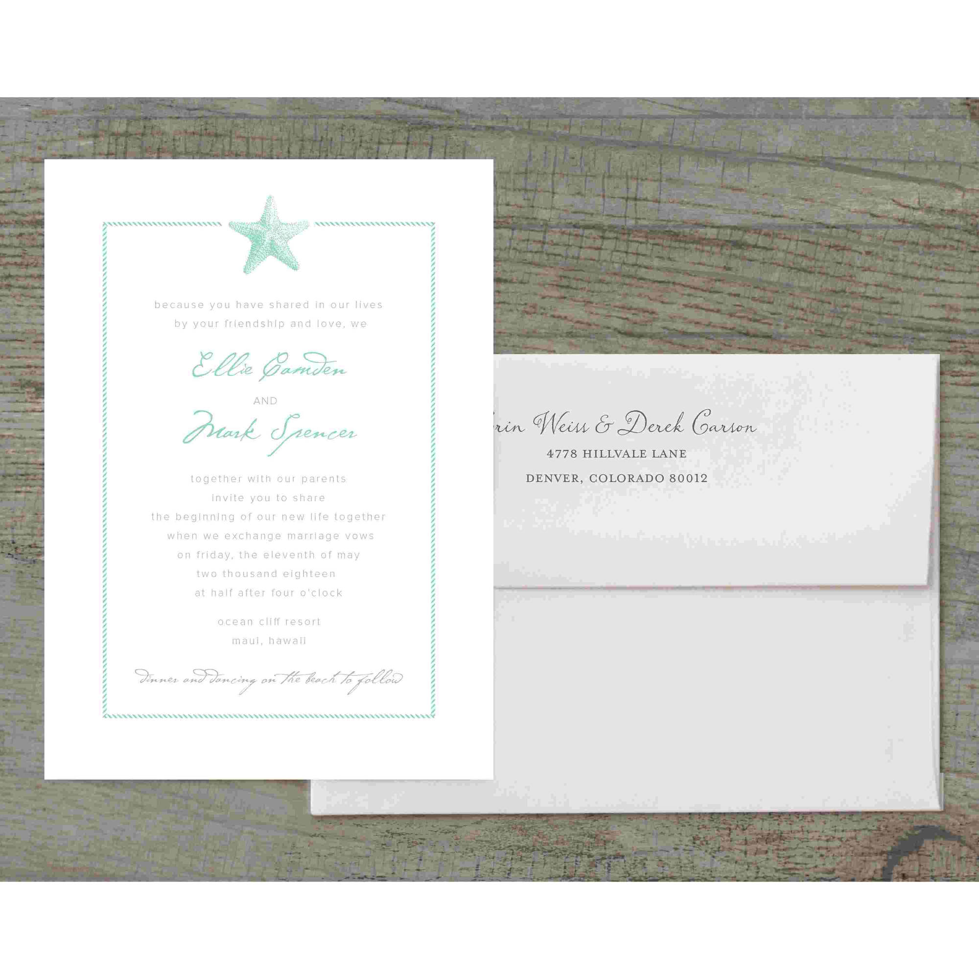 Sophisticated Starfish Deluxe Wedding Invitation