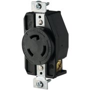 Cooper Wiring AHL620R Single Receptacle, 250 VAC, 20 A, 2 Pole, 3 Wire, Black