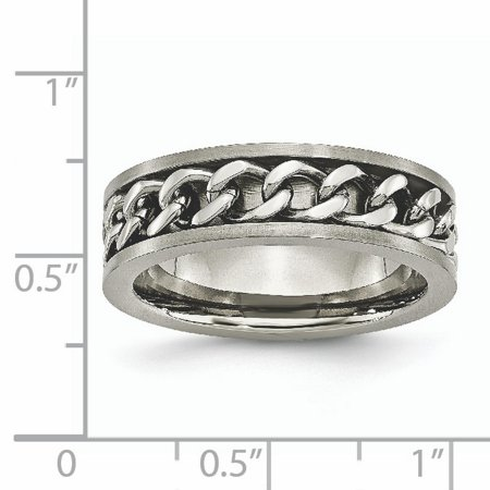 Titanium 7mm Chain Inlay Brushed Wedding Ring Band Size 7.00 Type Of Fashion Jewelry Gifts For Women For Her - image 2 de 10