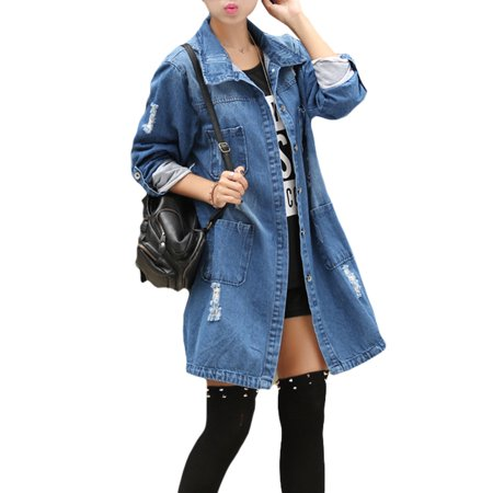 Long Boyfriend Jacket (Plus Size Women Denim Jacket Hole Boyfriend Style Jean Jackets Long Loose Spring Autumn Jeans Coats Hole Coat S-XXXXXL)
