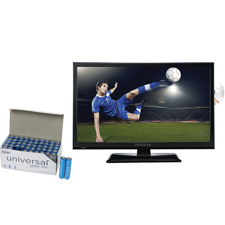 """Proscan PLEDV2488A 24"""" 1080i D-LED HDTV/DVD Combination & UPG AAA 50 PK"""