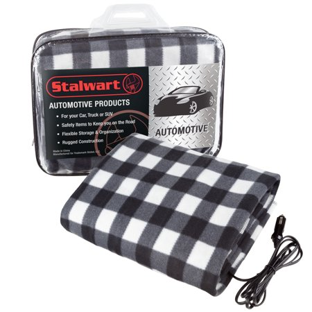 Electric Heater Car Blanket- Heated Travel Throw Electric Blanket for Car and RV, 12 volt by Stalwart- Black and