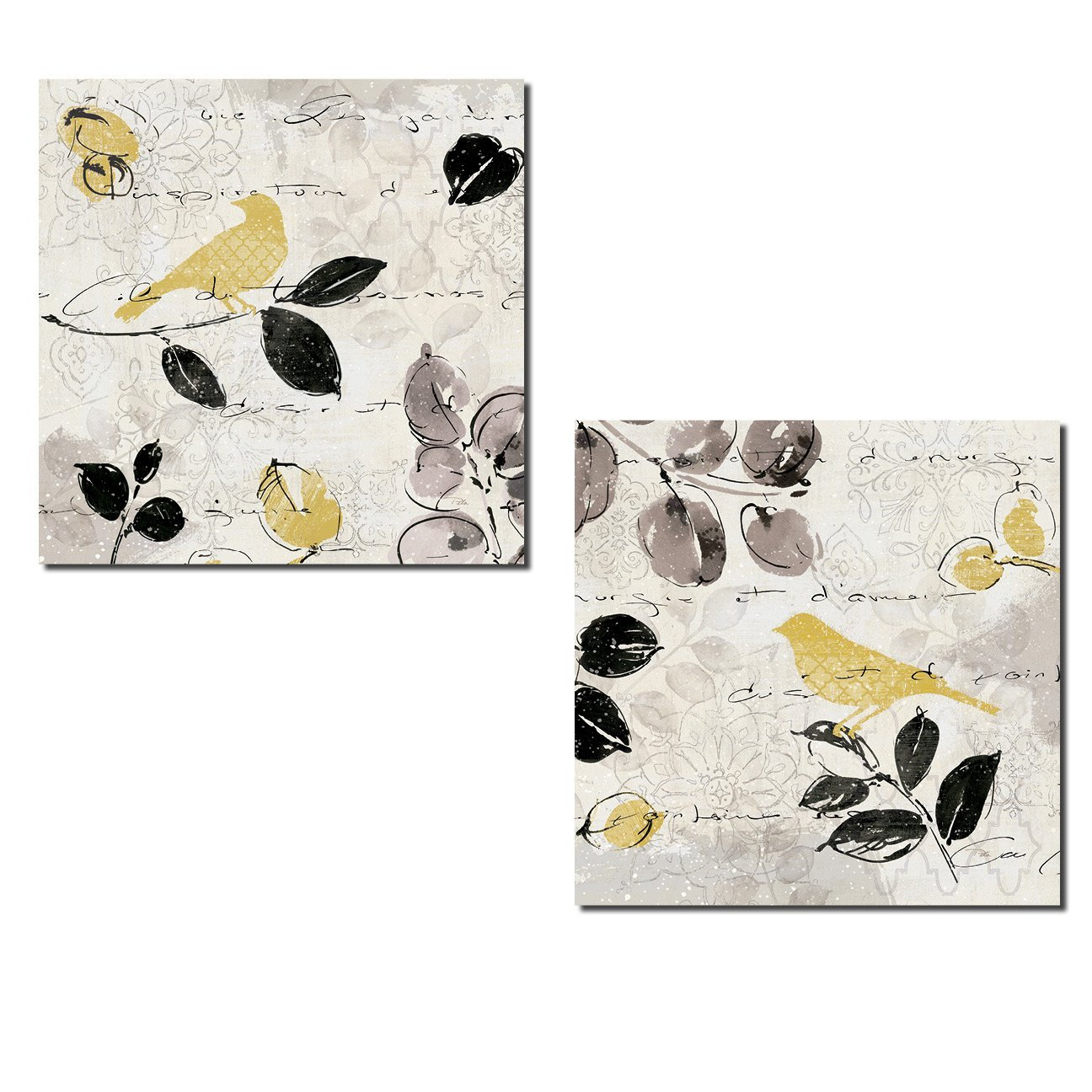 Beautiful Grey and Yellow Leaf and Bird Print Set by Pela; Two 12x12in Poster Prints