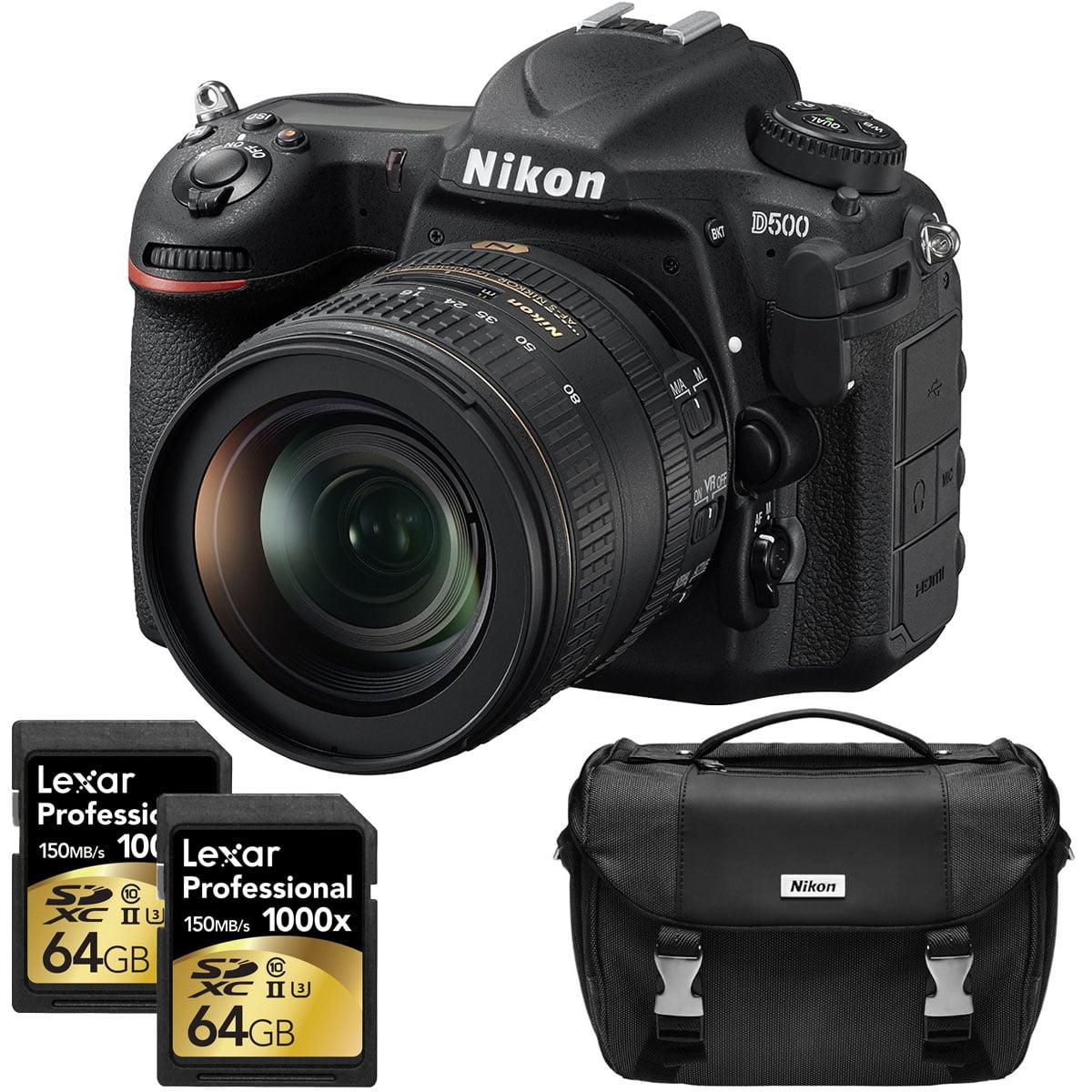 Nikon D500 20.9 MP CMOS DX Format Digital SLR Camera w/ AF-S DX NIKKOR 16-80mm f/2.8-4E ED VR Lens Kit Includes Dual Lexar 64GB Professional 1000x SDXC Memory Cards and Nikon Deluxe SLR Camera Bag