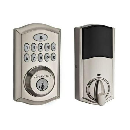 Camaro Door Lock Knobs - Kwikset 99130-002 Satin Nickel SmartCode Deadbolt