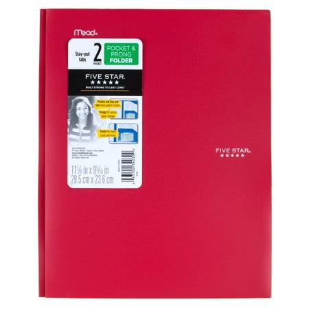 Five Star 2-Pocket Stay-Put Plastic Folder, Red (72109) - Plastic Folders