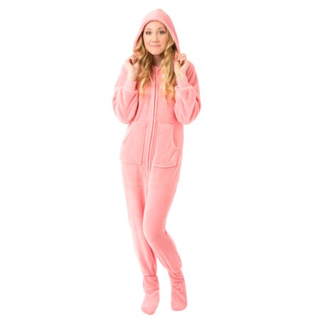 Big Feet Pjs Pink Hooded Plush Adult Womens Footed Pajamas Sleeper