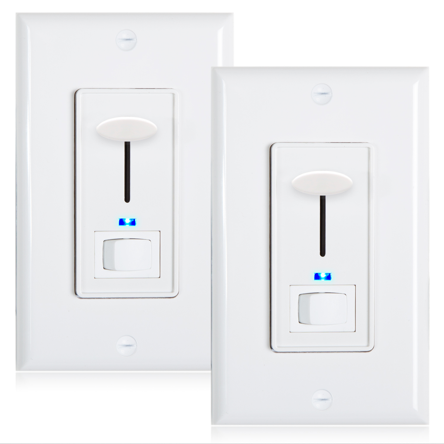 LED Compatible Wall Plate Included MEW-DM620 Maxxima 3-Way//Single Pole Dimmer Electrical Light Switch with Blue Indicator Light 600 Watt max